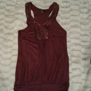 Plum colored, beaded, tunic top